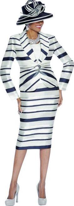 Susanna 3610 Womens Striped Church Suit