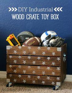 DIY Industrial Wood Crate Toy Box - Addicted 2 DIY