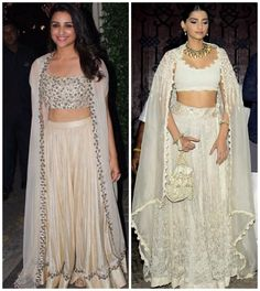 Fashion Faceoff: Sonam Kapoor or Parineeti Chopra, who wore the white lehenga with cape better? Designer Bridal Lehenga, Bridal Lehenga Choli, Indian Attire, Indian Wear, Indian Dresses, Indian Outfits, Indie Mode, Lehenga Style, Indian Designer Outfits