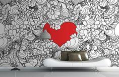 Intricate Love Heart Illustration Mural | MuralsWallpaper.co.uk