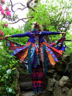 FAIRYTEA  gypsy elf fairy pixie festival hippie sweater coat dress tattered patchwork punk Upcycled recycled' UK 10-12 US 8-10. €211.00, via Etsy.