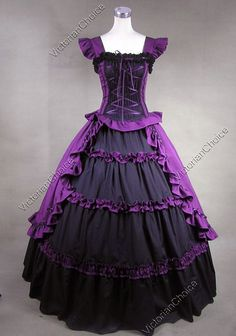 Victorian Gothic Lolita Dress Ball Gown Prom Reenactment Clothing Halloween Costume