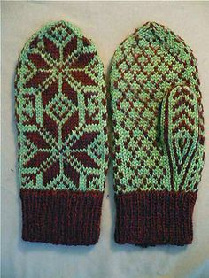 Decades ago, I got a pair of mittens from a penpal in Norway. By the time they were wearing out, I had learned to knit, so I sketched out the pattern on graph paper and knit them. I've made many pairs of these over the years, and want to offer them to you, so you can enjoy them, as well.