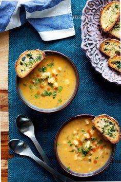 Vegan Buffalo Cauliflower Chowder with Herbed Crostini | 17 Delicious Buffalo Sauce Ideas For Vegetarians