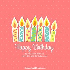Cute birthday card with candles Free Vector