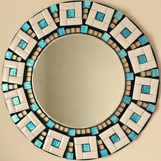 Items similar to Beautiful Handmade Mosaic Mirror Bevelled Edge white ceramic and blue foiled glass Mosaic Tile on Etsy Mosaic Artwork, Mirror Mosaic, Mosaic Wall, Mosaic Crafts, Mosaic Projects, Ceramic Mosaic Tile, Mosaic Glass, Stained Glass, Mosaic Designs