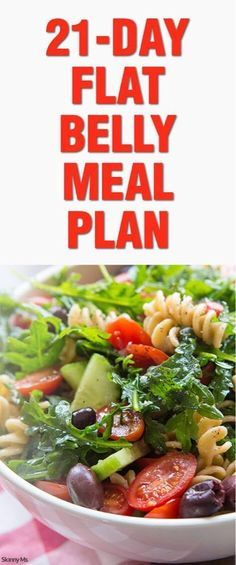 Try this 21-Day Flat Belly Meal Plan and lose the bloating associated with refined sugars and greasy foods!