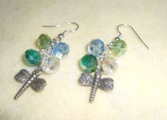 Crystals and Dragonfly earrings in WickdCreation