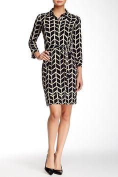 3/4 Sleeve Tie Waist Shirt Dress by Donna Morgan on @nordstrom_rack
