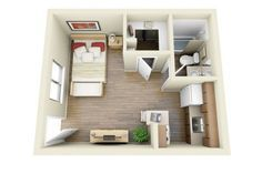 Found on RentCafe, this small space shows that you can live comfortably without leaving a large footprint.