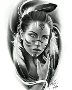 Native American Drawing, Native American Tattoos, Native Tattoos, Tribal Arm Tattoos, Native American Girls, Native American Images, Body Art Tattoos, Tattoo Ink, Skull Girl Tattoo