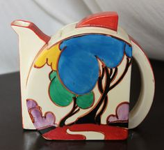 Clarice Cliff Stamford shape teapot in Blue Autumn pattern, w/ early upturned angular spout, c. 1930-1936, handpainted enamel on glaze, ceramic, UK