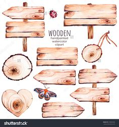 This handpainted collection of 9 watercolor wood slices clipart.Wood pointer, board,wooden heart,but. Watercolor On Wood, Watercolor Lettering, Watercolor Wedding Invitations, Watercolor Illustration, Homemade Stickers, Clip Art, Wooden Hearts, Wood Art, Wood Wood