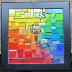 Rainbow Squared Mosaic for Your Wall by nutmegdesigns on Etsy Tile Art, Mosaic Art, Mosaic Glass, Stained Glass, Mosaic Projects, Mosaic Ideas, Color Theory, Fabric Scraps, Colorful Decor