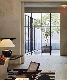 Decor Interior Design, Interior Decorating, Architecture Design, Steel Doors And Windows, Living Room Pillows, Living Rooms, Living Spaces, Custom Home Builders, Decoration