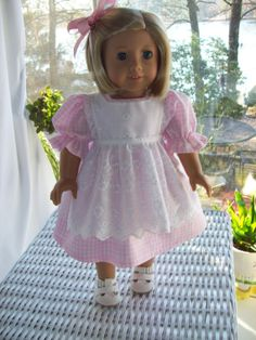 American Girl doll or 18 inch doll dress pinafore by ASewSewShop, $16.99