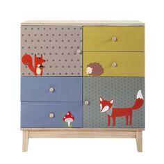 Kinderkommode aus Holz mit 2 Türen und 4 Schubladen, B 86cm, mehrfarbig