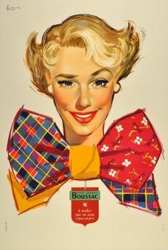 Boussac Textiles, 1950s - original vintage poster by Couronne