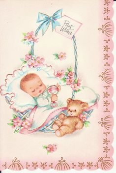 Vintage Baby Greeting Card ... Baby in a basket.