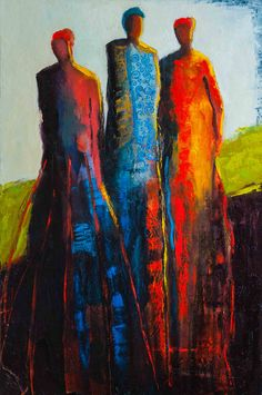 """""""Bonds of Friendship"""" by Shelby McQuiilkin Abstract figurative oil painting of three women, contemporary artwork, colorful,"""