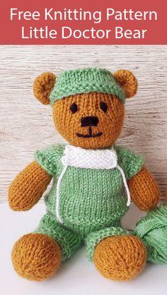 Teddy Bear Knitting Patterns- In the Loop Knitting - knitting - Free Knitting Pattern for Little Doctor Teddy Bear – Teddy bear in medical scrubs with mask. Baby Knitting Patterns, Knitting Bear, Teddy Bear Patterns Free, Teddy Bear Knitting Pattern, Knitted Doll Patterns, Knitted Teddy Bear, Crochet Bear, Knitted Dolls, Free Knitting