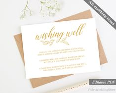 Gold Wishing Well Card Template. Printable Wishing Well Wedding Card. Modern Calligraphy Elegant Wishing Well. Instant Download Editable PDF http://etsy.me/2DdYOBq #weddings #invitation #gold #clear #wishing #well #card #template #printable
