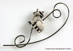 Shawl Pin Scarf Pin Brooch Rocky Raccoon by ShawlPinHeaven