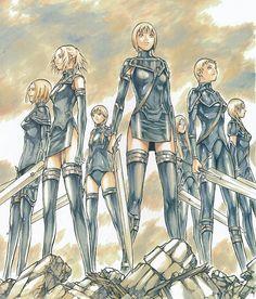 Sete fantasmas (Seven Ghosts), as guerreiras de uniforme preto - Claymore