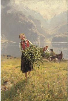 Landscape Paintings by Hans Dahl Norwegian Artist... A Summer Day by a Norwegian Fjord