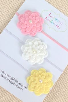 Layered Flower Headband or Hair Clip Set of 3 by LovebugLullabies