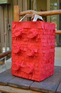 DIY paper mache lego pinata! Plus other ideas/activities for a lego party!