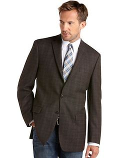 Sport Coats - Calvin Klein Brown Plaid Sport Coat - Men's Wearhouse