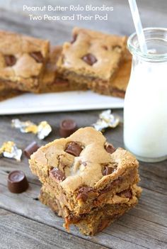 Peanut Butter Rolo Blondies from www.twopeasandtheirpod.com #recipe