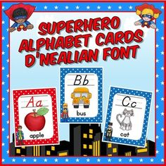 Superhero Theme Alphabet Posters - D'Nealian Font - Are you a school that uses the DNealian font? Then you're going to love this cursive set of alphabet posters for your 2nd, 3rd, 4th, 5th, or 6th grade classroom or homeschool work space. Choose from two different size options. Long and short vowel cards are also included. Click through now to see the great options! $