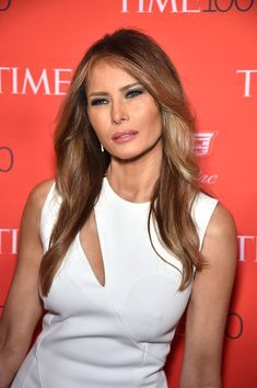 Melania Trump Long Wavy Cut - Melania Trump wore her hair down with subtle waves when she attended the Time 100 Gala.