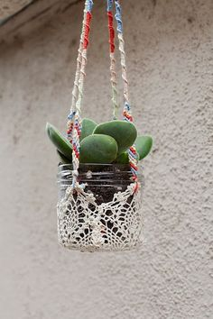 Fun little way to display plants. Succulent and a doily.