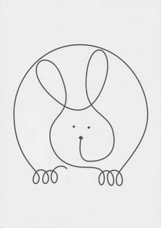 Continuous Line Rabbit Single Line Drawing, Continuous Line Drawing, Quilting Templates, Quilting Designs, Drawing For Kids, Art For Kids, Embroidery Patterns, Quilt Patterns, Line Doodles