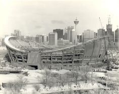 Olympic Saddledome - under construction in the early 1980s.