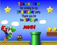 Super Mario Gaming Birthday Party Thank You Note Cards Personalized Custom Mario Birthday Party, Birthday Games, Birthday Parties, Birthday Thank You Cards, Thank You Note Cards, White Envelopes, Super Mario, Your Cards