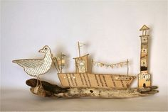 Epistyle: Ô mon bateau oh oh oh ! Find Objects, Beach Crafts, Wire Crafts, Origami Paper, Wire Art, All Art, Twine, Sea Shells, Paper Art