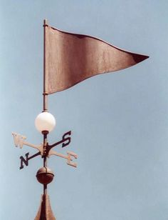 Golf Pennant Banner Weather Vane #2 by West Coast Weather Vanes.  This Golf Banner weathervane is handmade entirely in copper; however, we can customize this banner to indicate your particular club, family name, etc. This is usually accomplished by adding optional gold leaf.