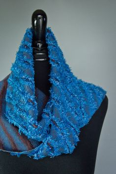Handwoven, Cobalt & Dark Brown, Unique, Reversible Eyelash Scarf.