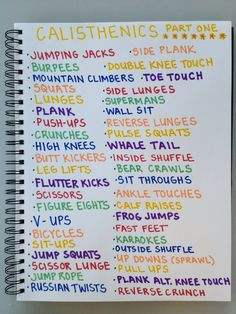 """Part One"" of my list of calisthenic exercises. The next time my four kids are working quietly, I'll work on ""Part Two."" ;)"