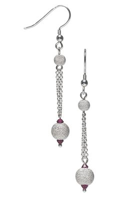 Earrings with Sterling Silver Stardust Beads, Swarovski Crystal Beads and Sterling Silver Chain - Fire Mountain Gems and Beads