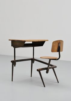 JEAN PROUVE, School Desk, Pupitre No. 800, France, 1952. Sold by www. midmod-design.com. @jonwbenedict on Instagram