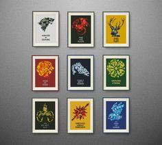 SET, 9 Houses of Westeros. Game of Thrones cross stitch pattern, PDF counted cross stitch pattern, P150 by NataliNeedlework on Etsy