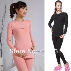 2013 Spring Autumn Winter Bodice Maternity Thermal Underwear Set Clothes Nursing Breastfeeding Suit Pregnant Tight Tops+Leggings