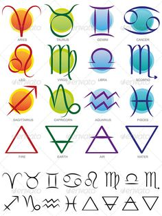 Elemental sign for Taurus | Set of twelve signs of the zodiac and four elements used in astronomy