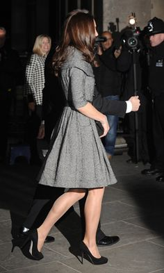 Kate Middleton Wearing A Grey Jesire Coat Dress At The National Portrait Gallery!