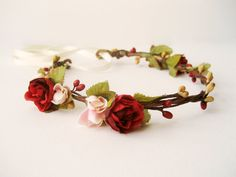 Rustic wedding hair accessories Fall flower crown by NoonOnTheMoon